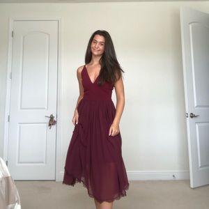 Dress the Population Burgundy Midi Dress
